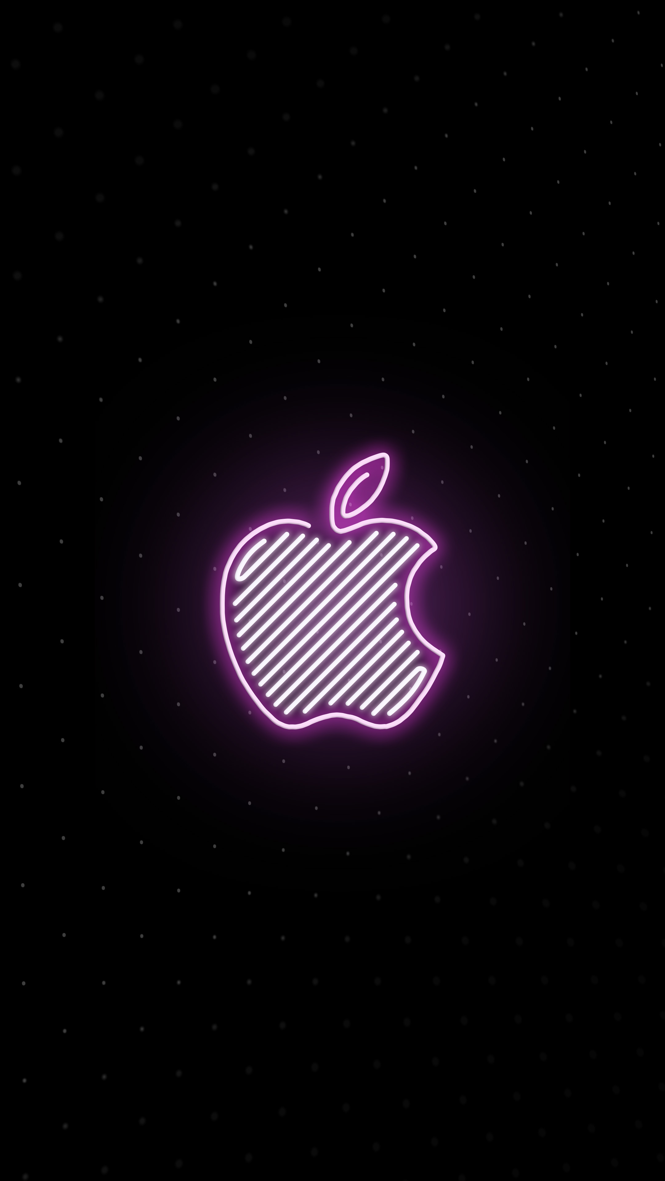 Apple Logo Neon iPhone Wallpaper