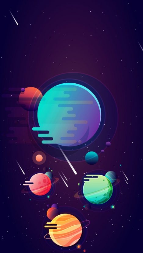 Artistic Minimal Space Planets iPhone Wallpaper