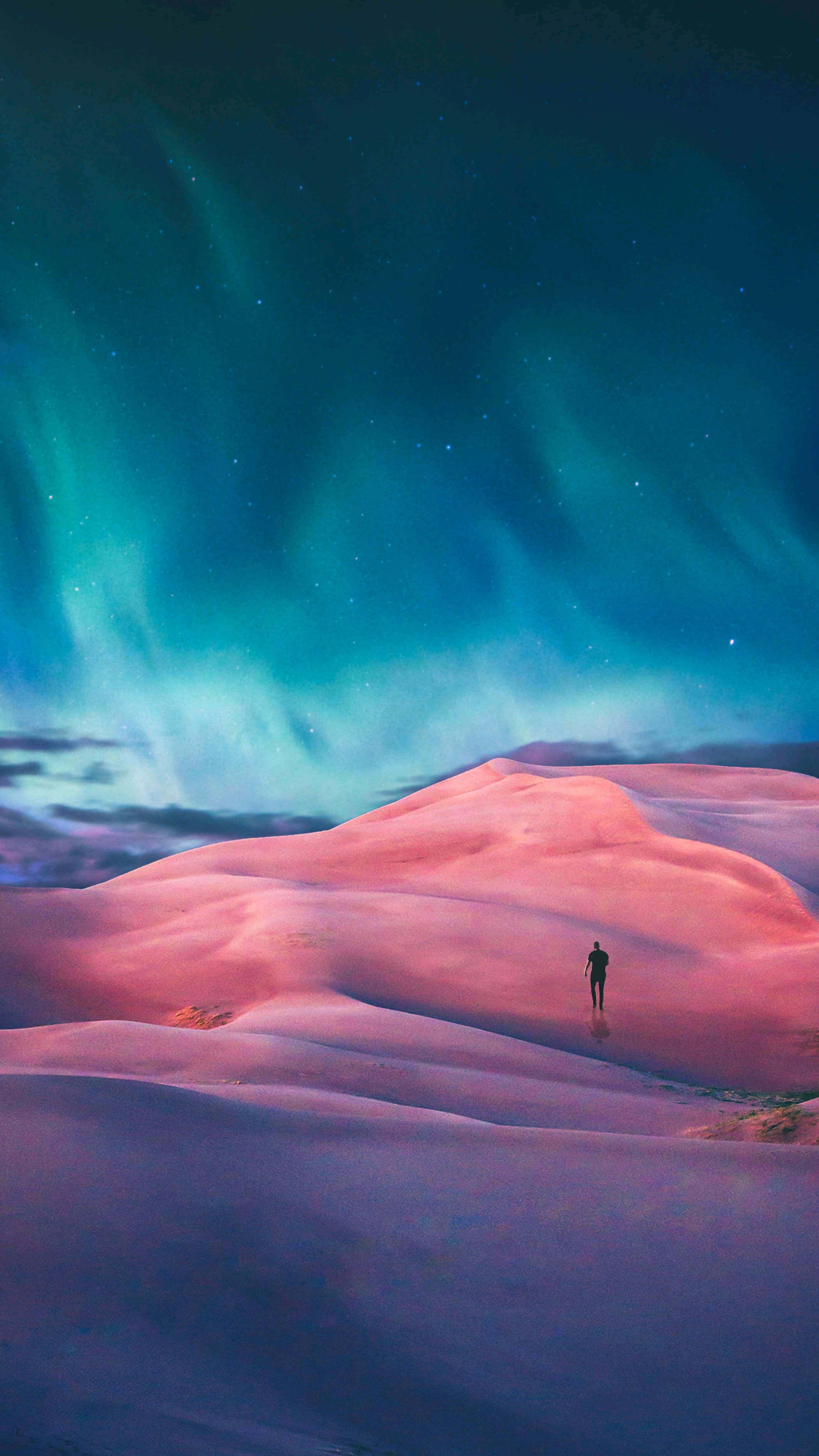 Aurora in Desert iPhone Wallpaper