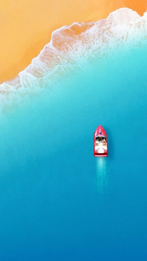 Boat on Beach Minimal Sky View iPhone Wallpaper