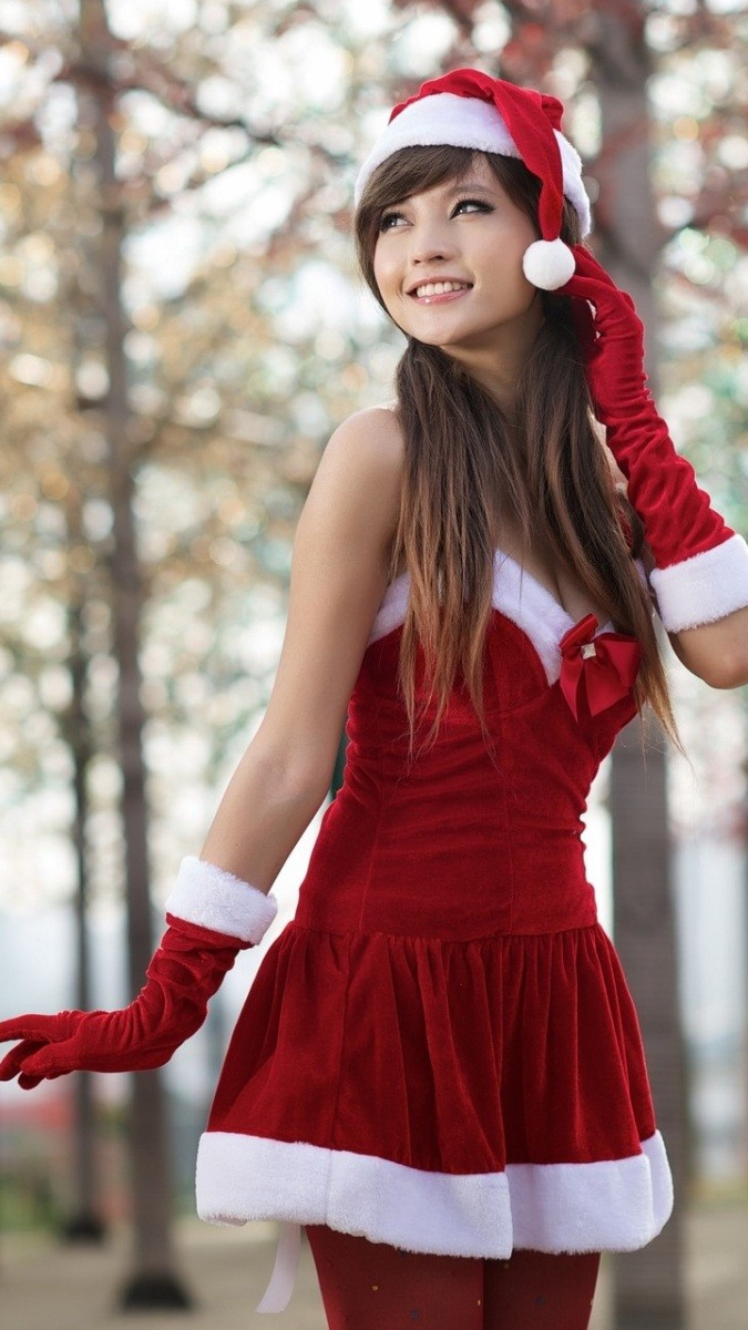 Christmas Asian Girl iPhone Wallpaper