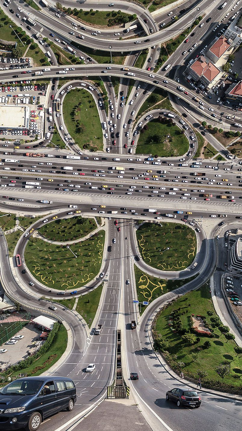 City Freeway Roads Drone View illusion iPhone Wallpaper