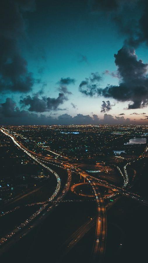 City View Evening Sunset Clouds iPhone Wallpaper