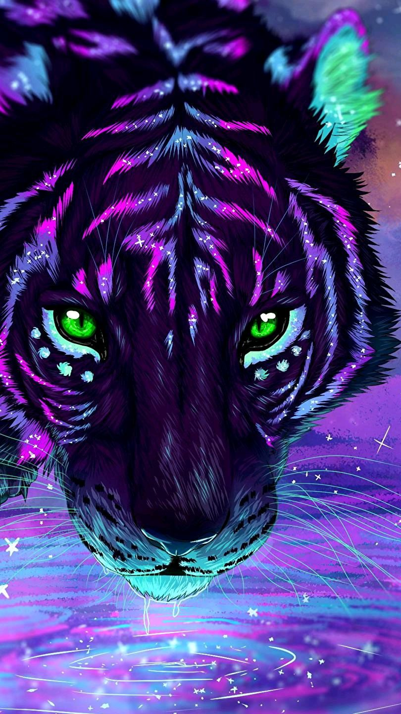 Colorful Tiger Art iPhone Wallpaper