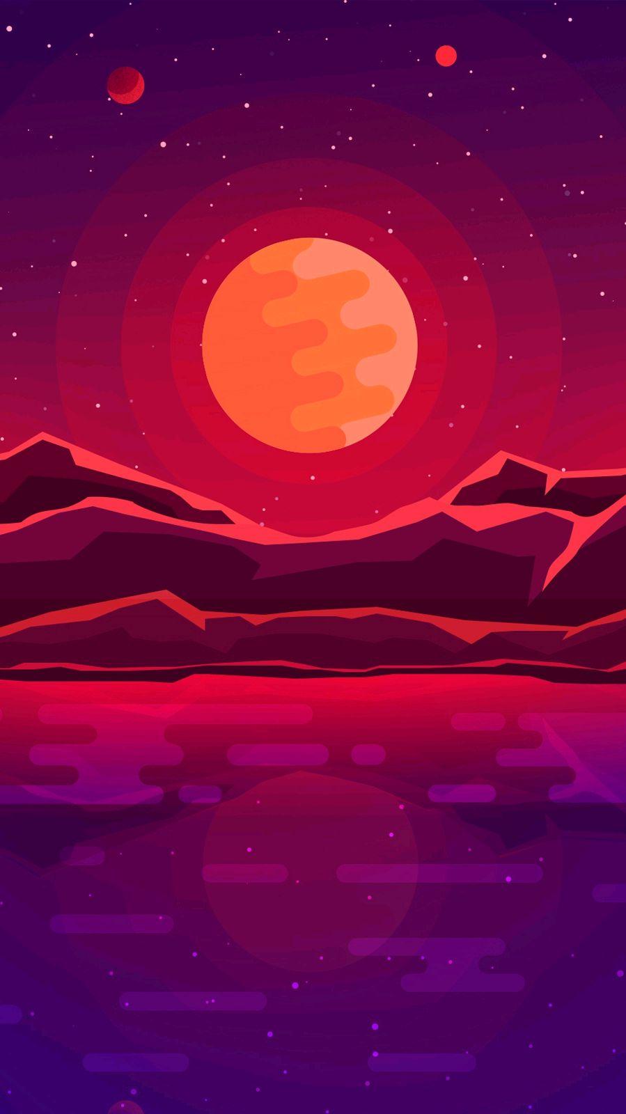 Digital Sunrise Minimal Art iPhone Wallpaper