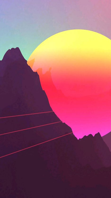 Digital Sunset Mountain iPhone Wallpaper