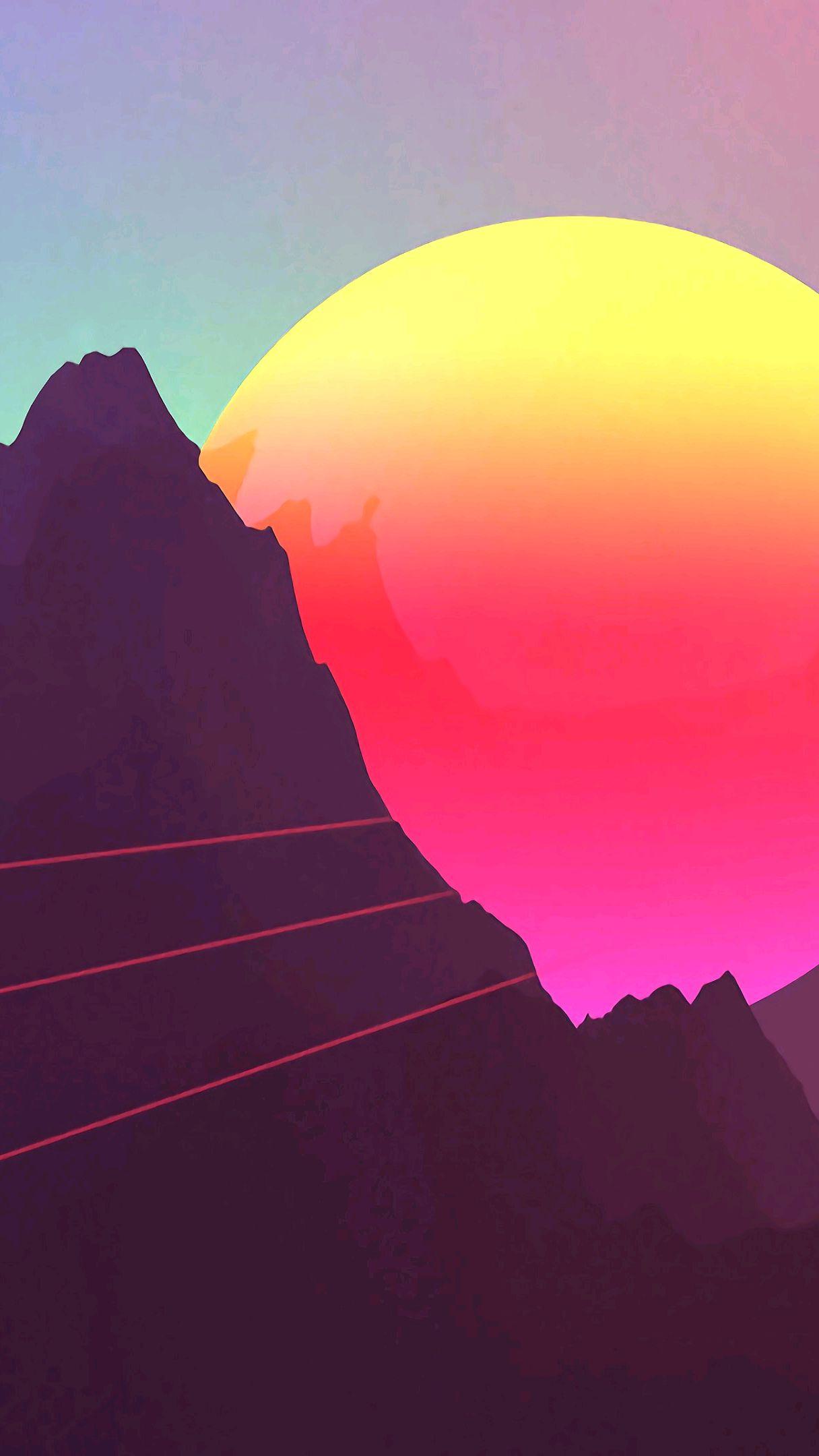 Digital Sunset Mountain iPhone Wallpaper