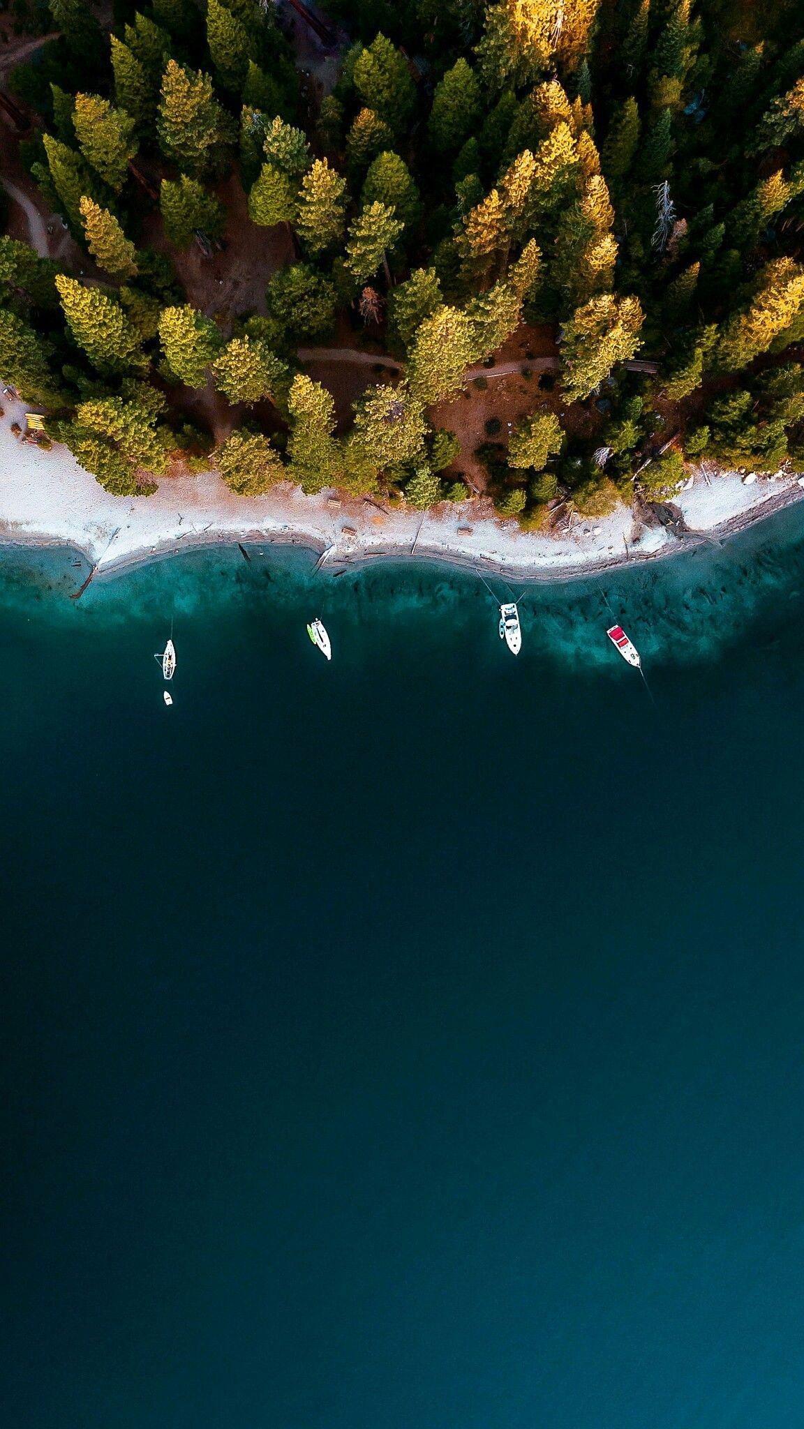 Lake Forest Sports Cars >> Forest and River Boats Aerial View iPhone Wallpaper - iPhone Wallpapers