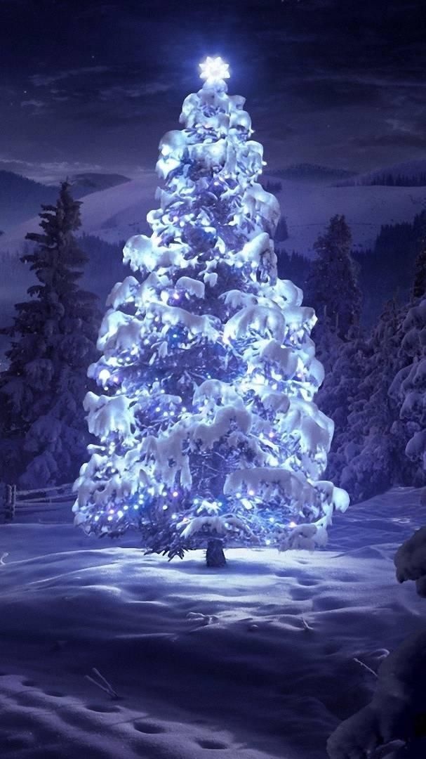 Glowing Christmas Tree iPhone Wallpaper