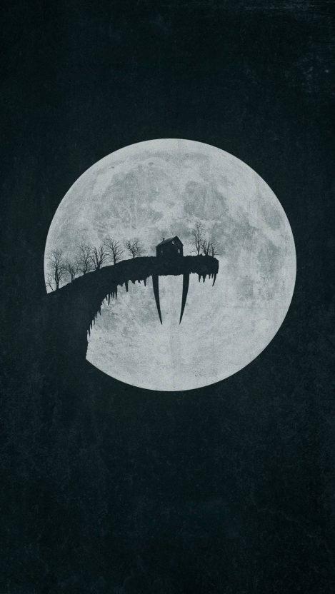 Halloween Moon House iPhone Wallpaper