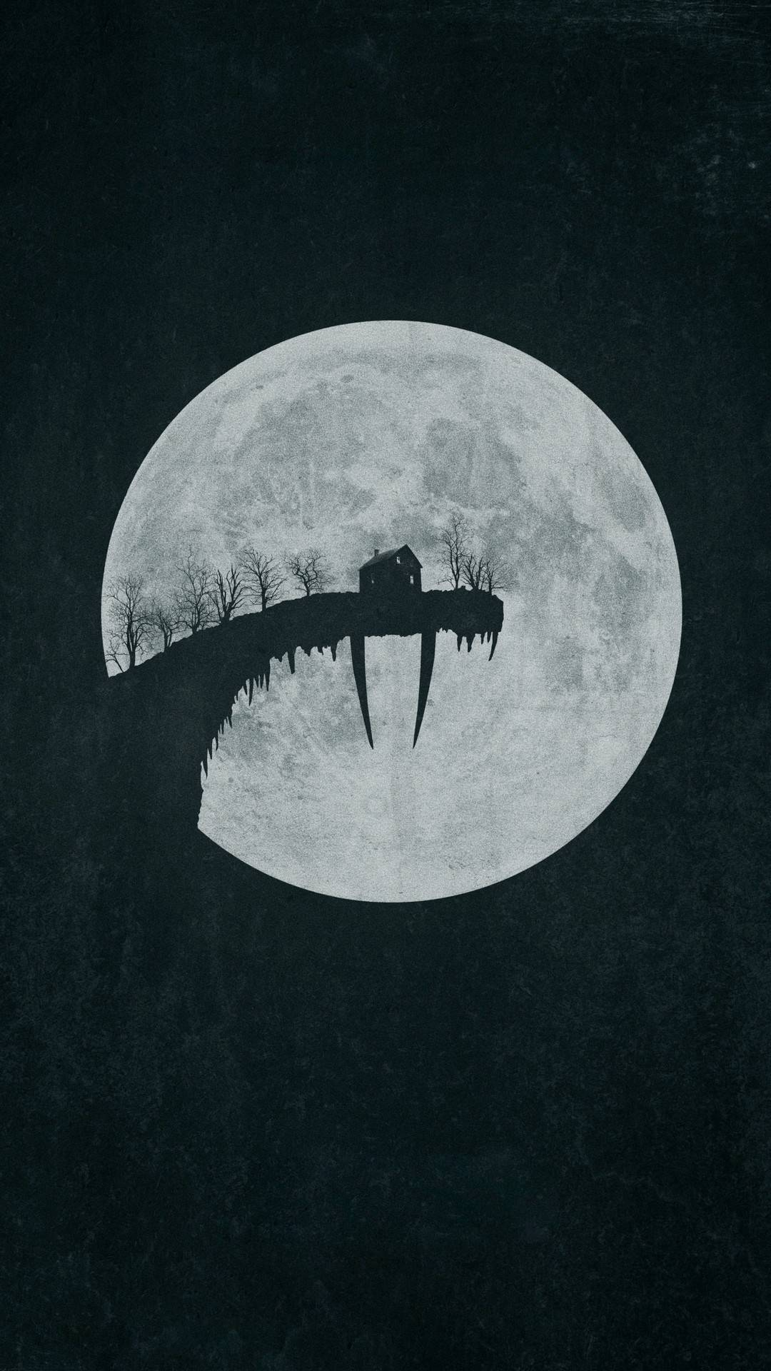 Halloween Moon House iPhone Wallpaper