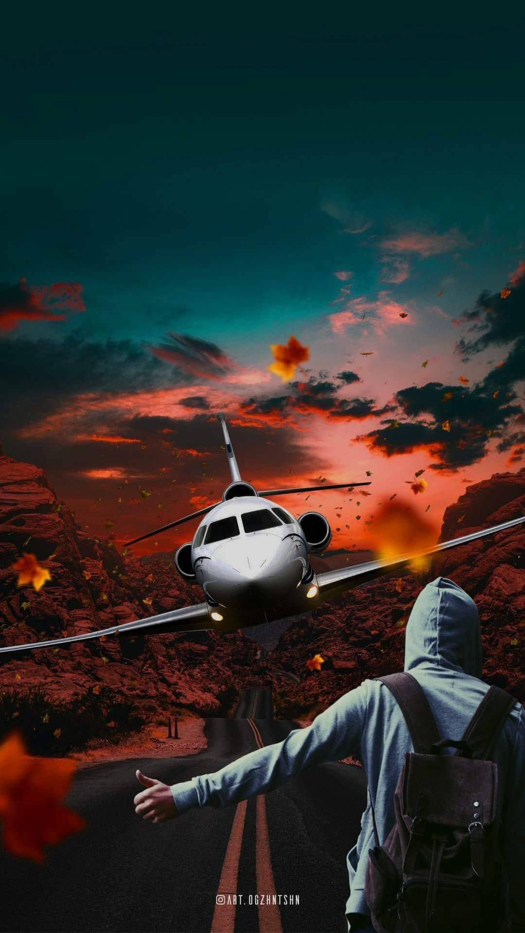 Jet Plane Illusion Art iPhone Wallpaper