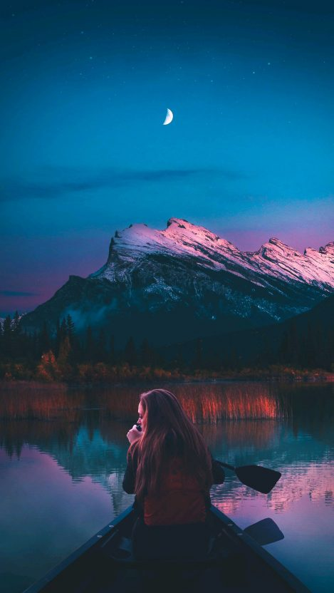 Lady in Lake Nature Beautiful iPhone Wallpaper