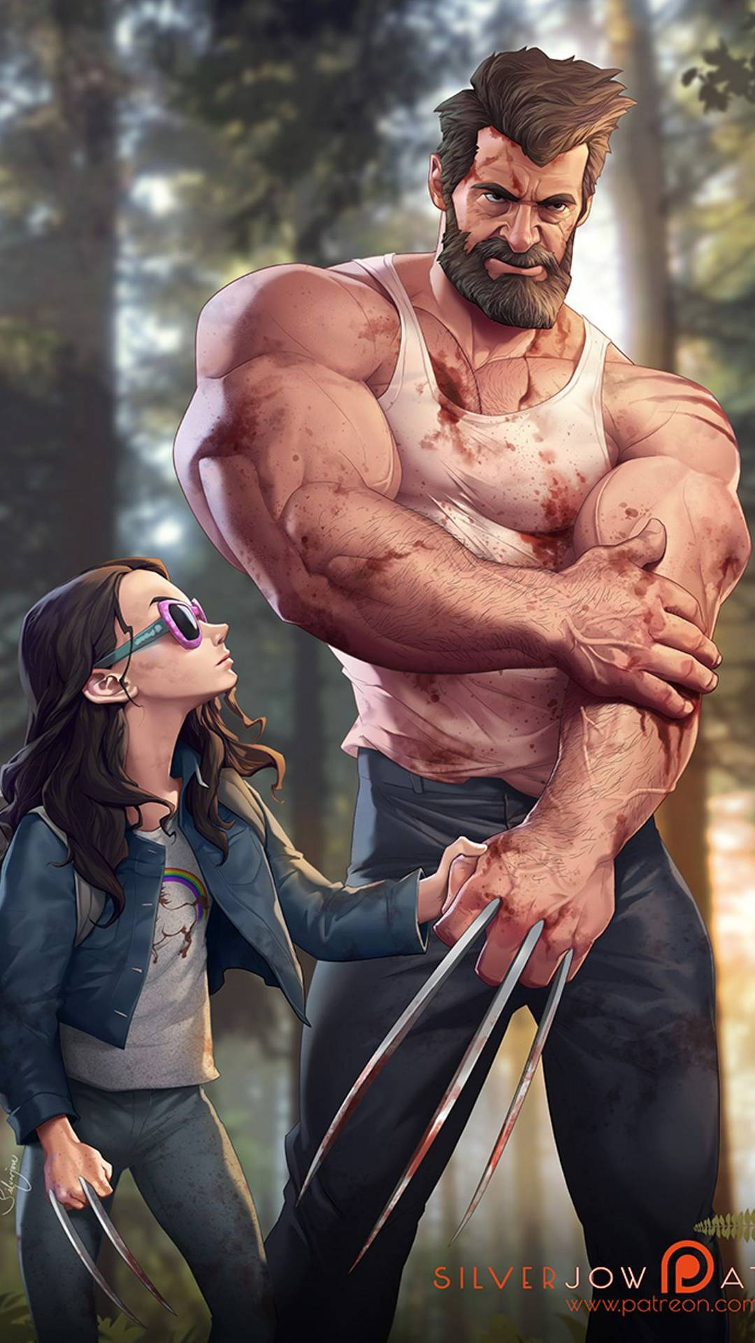 Logan with Laura iPhone Wallpaper