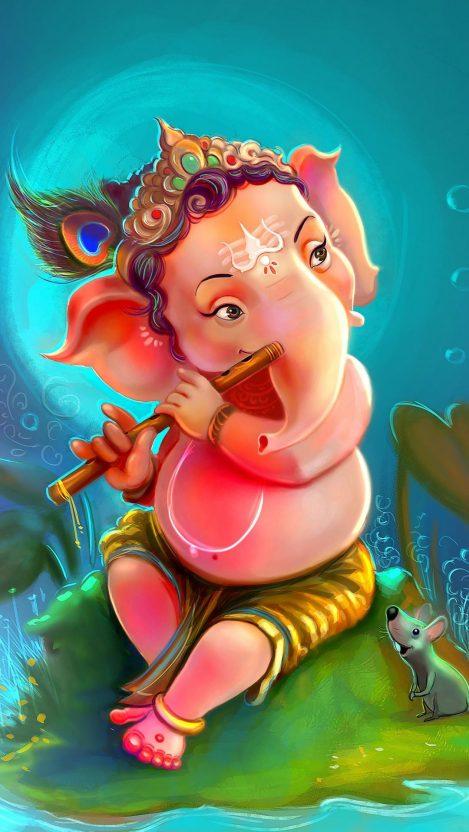Lord Ganesha Cute iPhone Wallpaper
