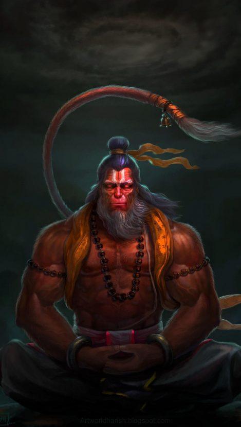 Lord Hanuman Meditation iPhone Wallpaper
