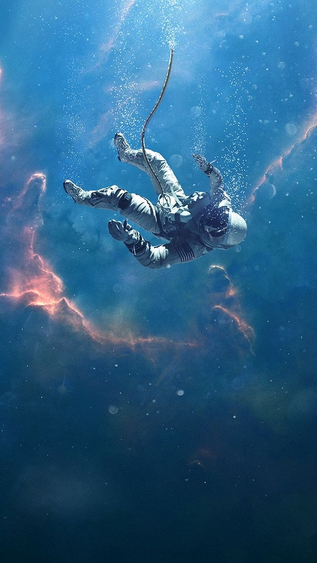 Lost Astronaut in Nebula iPhone Wallpaper