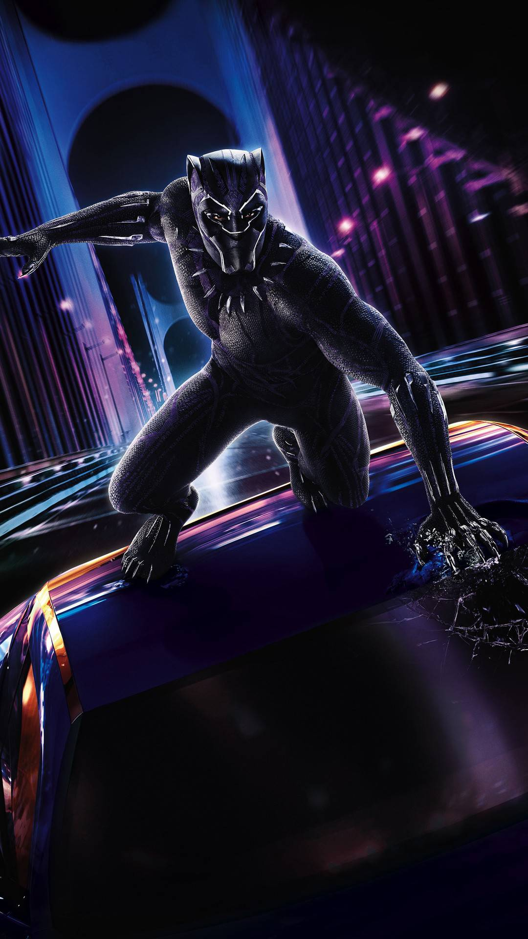Marvel Black Panther Action iPhone Wallpaper