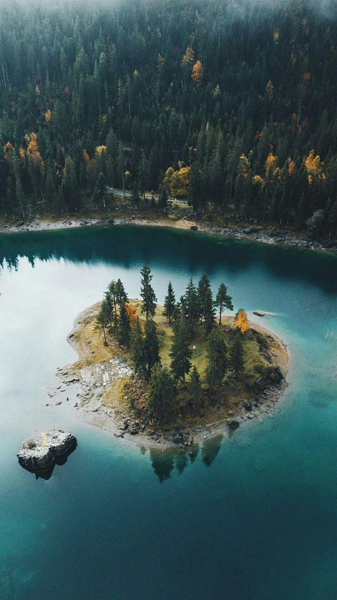 Mini Island in Lake Nature Forest iPhone Wallpaper
