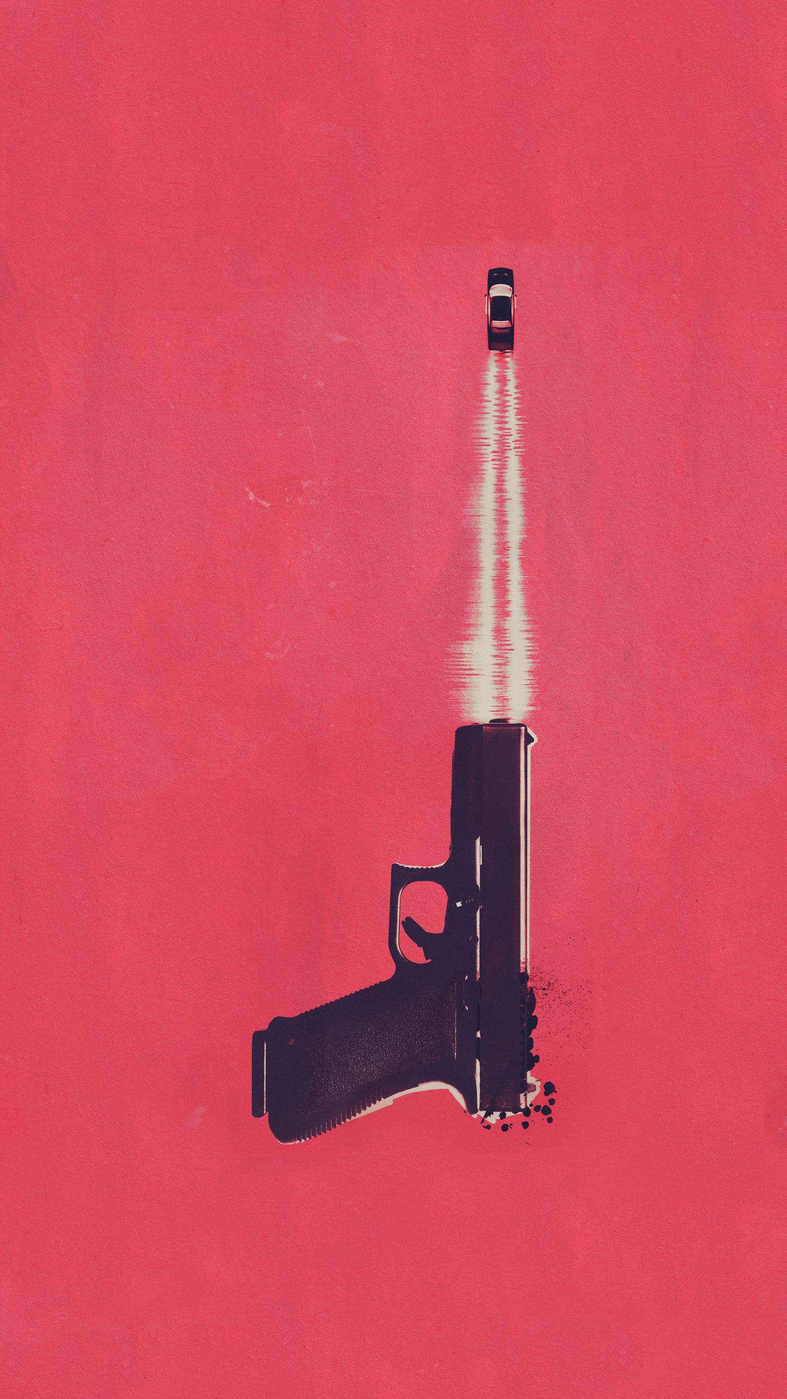 Minimal Gun iPhone Wallpaper