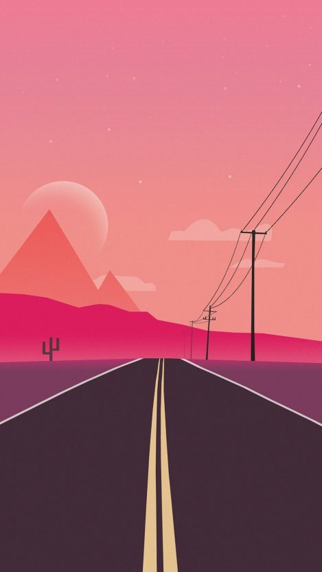 Minimal Road Mountains iPhone Wallpaper