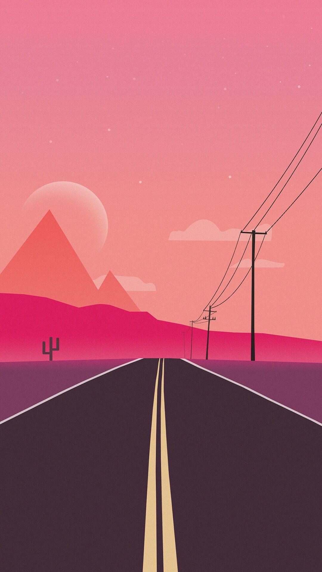 Minimal Road Mountains iPhone Wallpaper