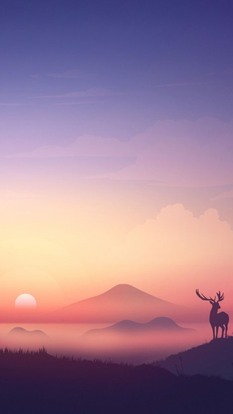 Minimal Sunset Deer Art iPhone Wallpaper