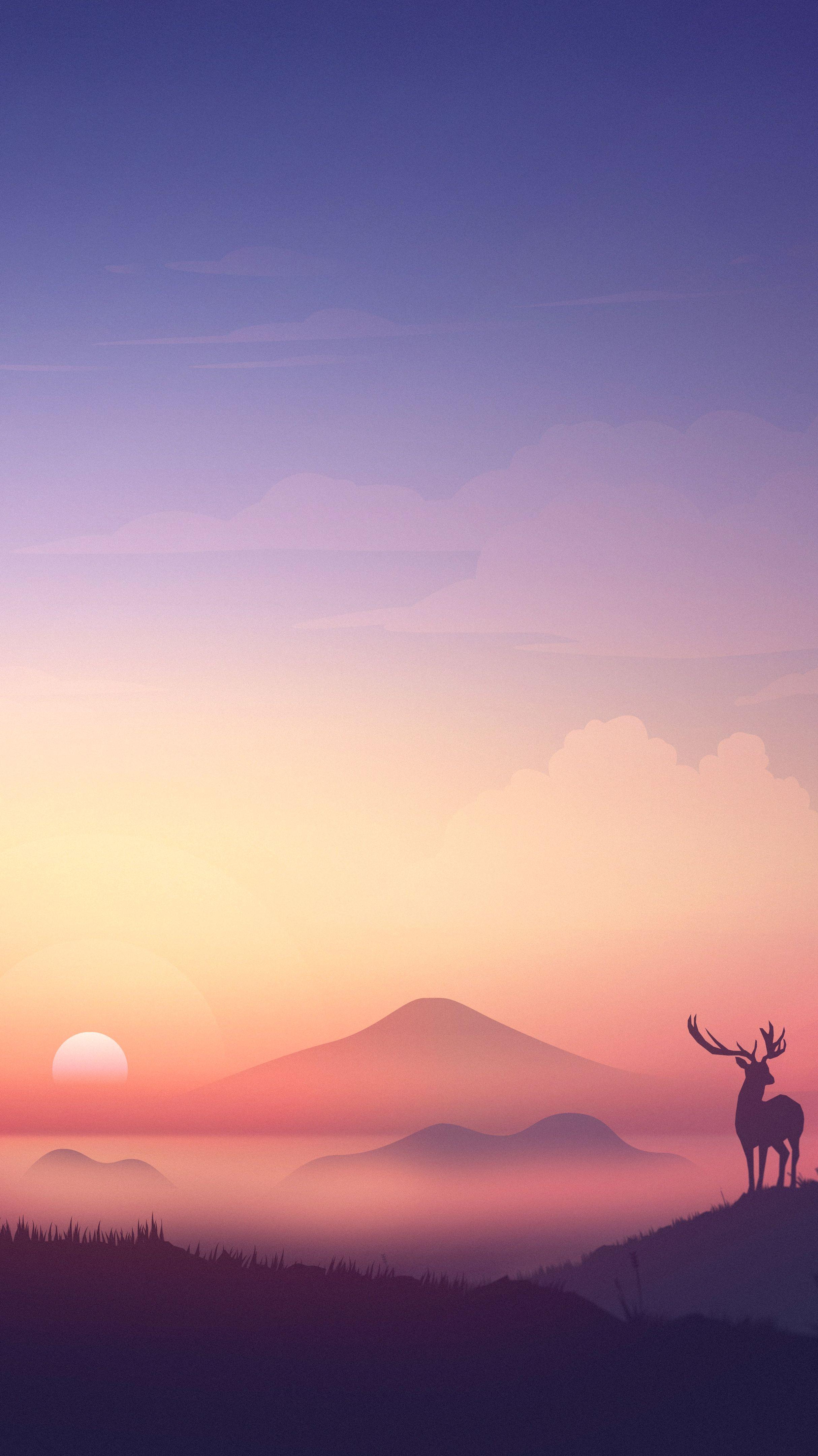 Minimal Sunset Deer Art iPhone Wallpaper