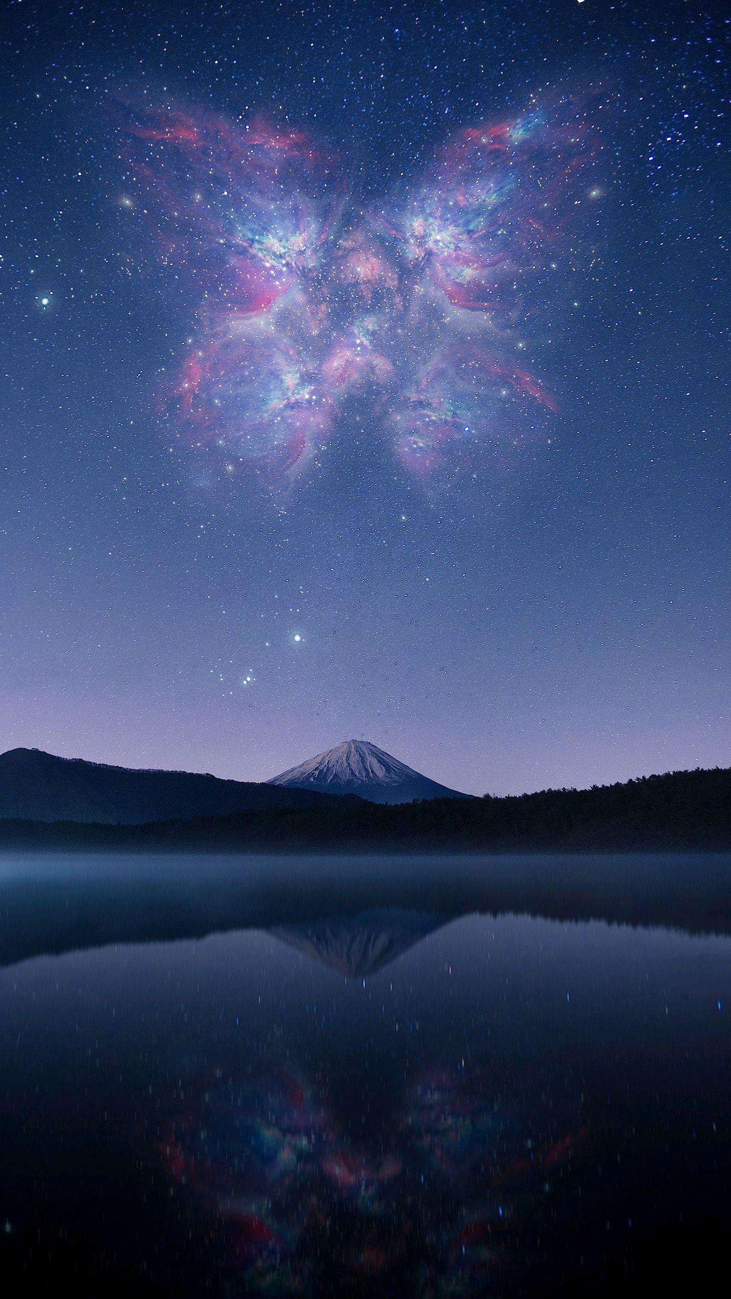 Mount Fuji Lake Night Stars iPhone Wallpaper