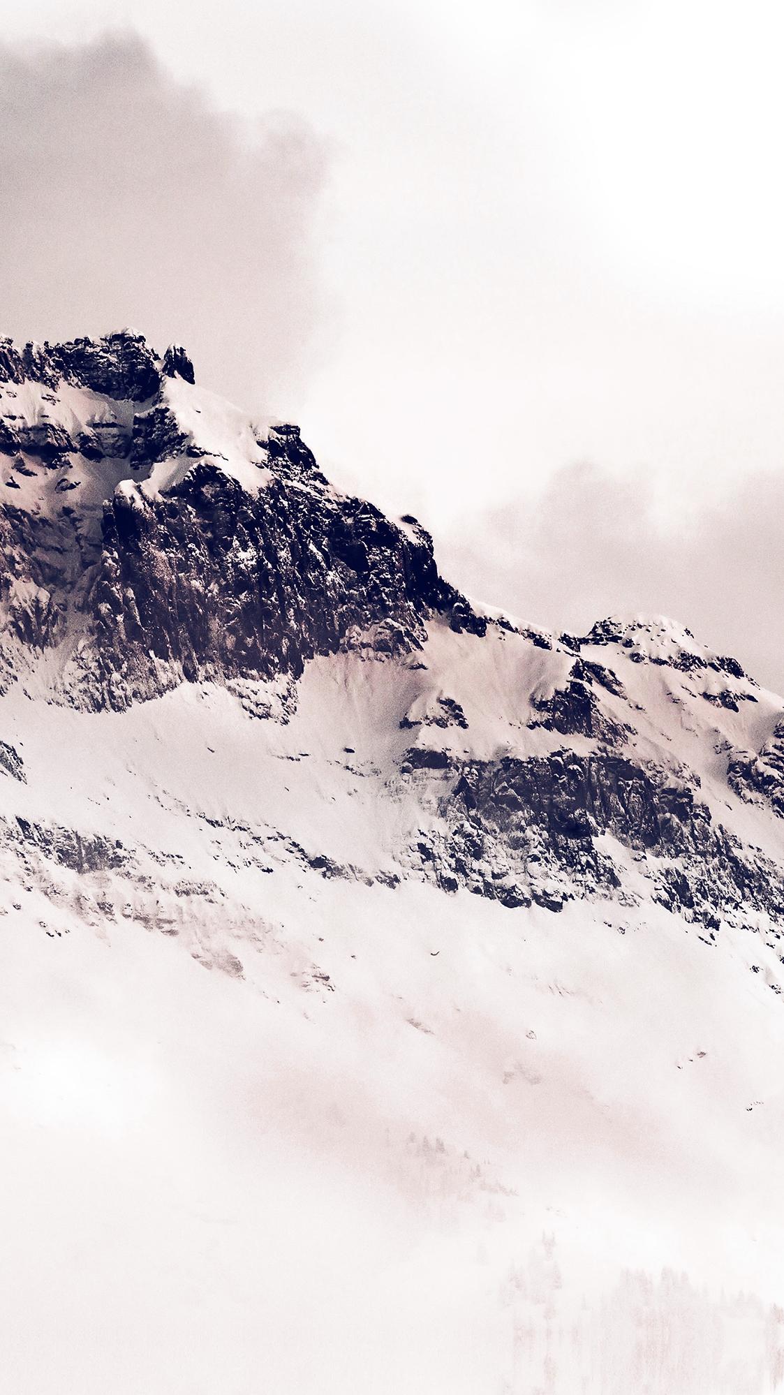 Mountains white snow winter minimal iPhone Wallpaper