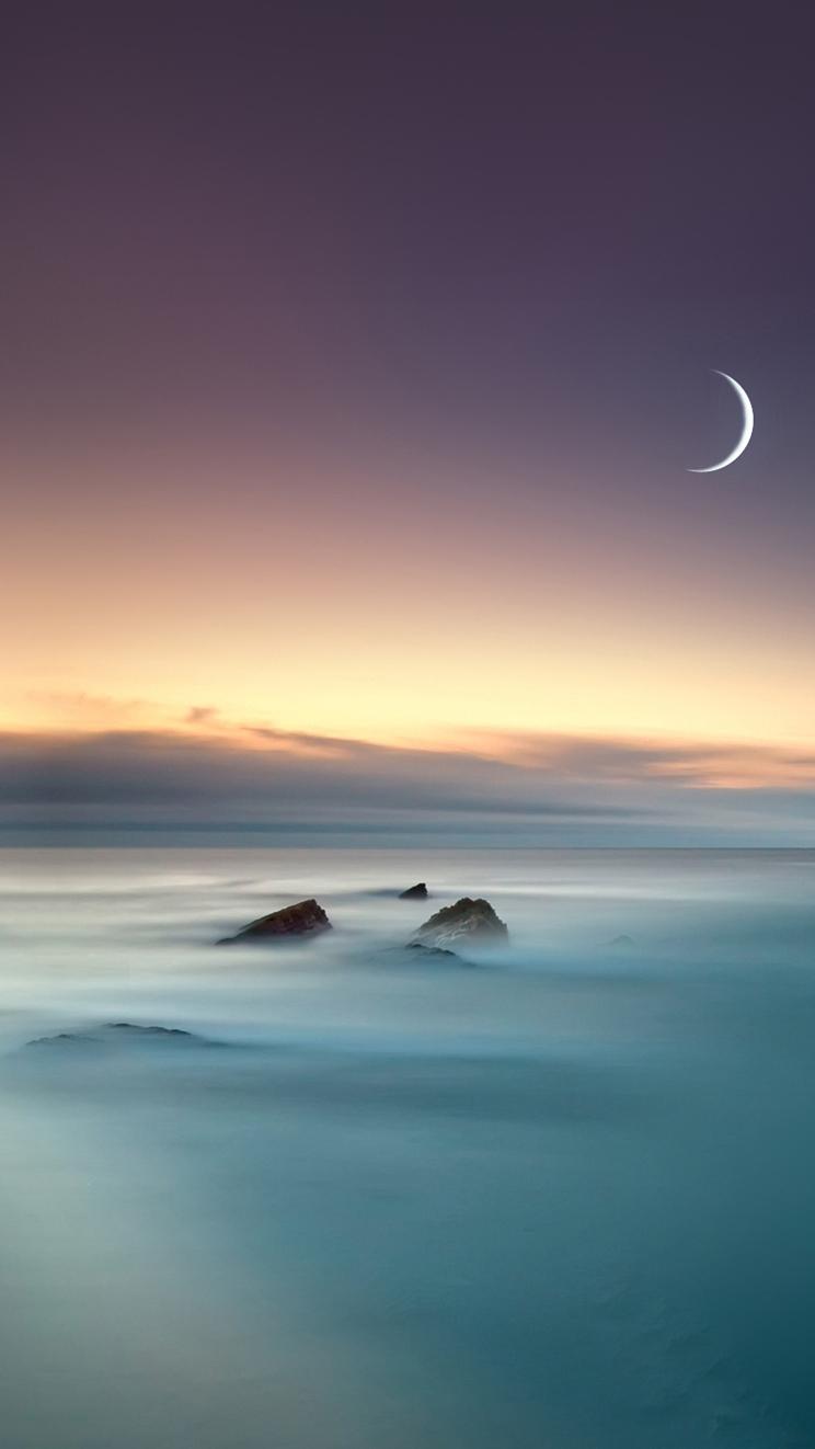 Nature Lake Fog Mist Moon Eclipse iPhone Wallpaper