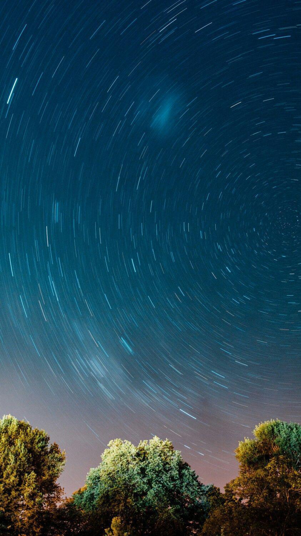 Nature Night Stars illusion Long Exposure iPhone Wallpaper