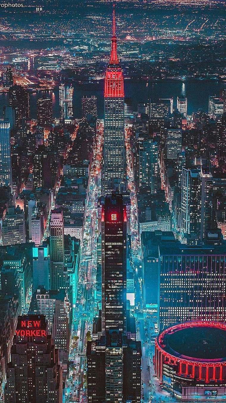 New York City Night Glow iPhone Wallpaper