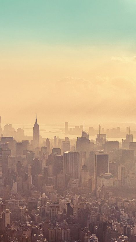 New York City Sunrise Haze iPhone Wallpaper