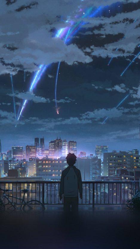 Night Anime Sky Illustration Art iPhone Wallpaper