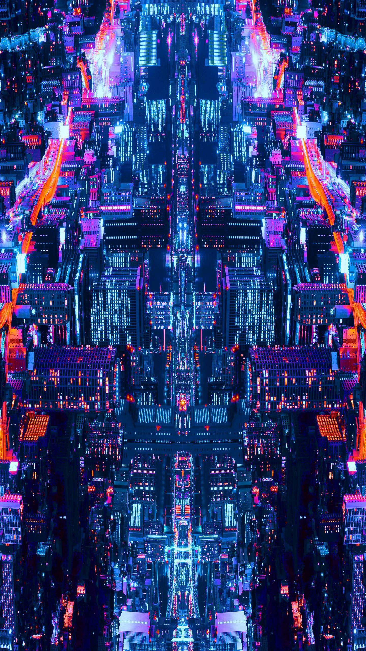 Night City Art iPhone Wallpaper