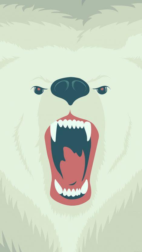 Polar Bear Winter Minimal iPhone Wallpaper