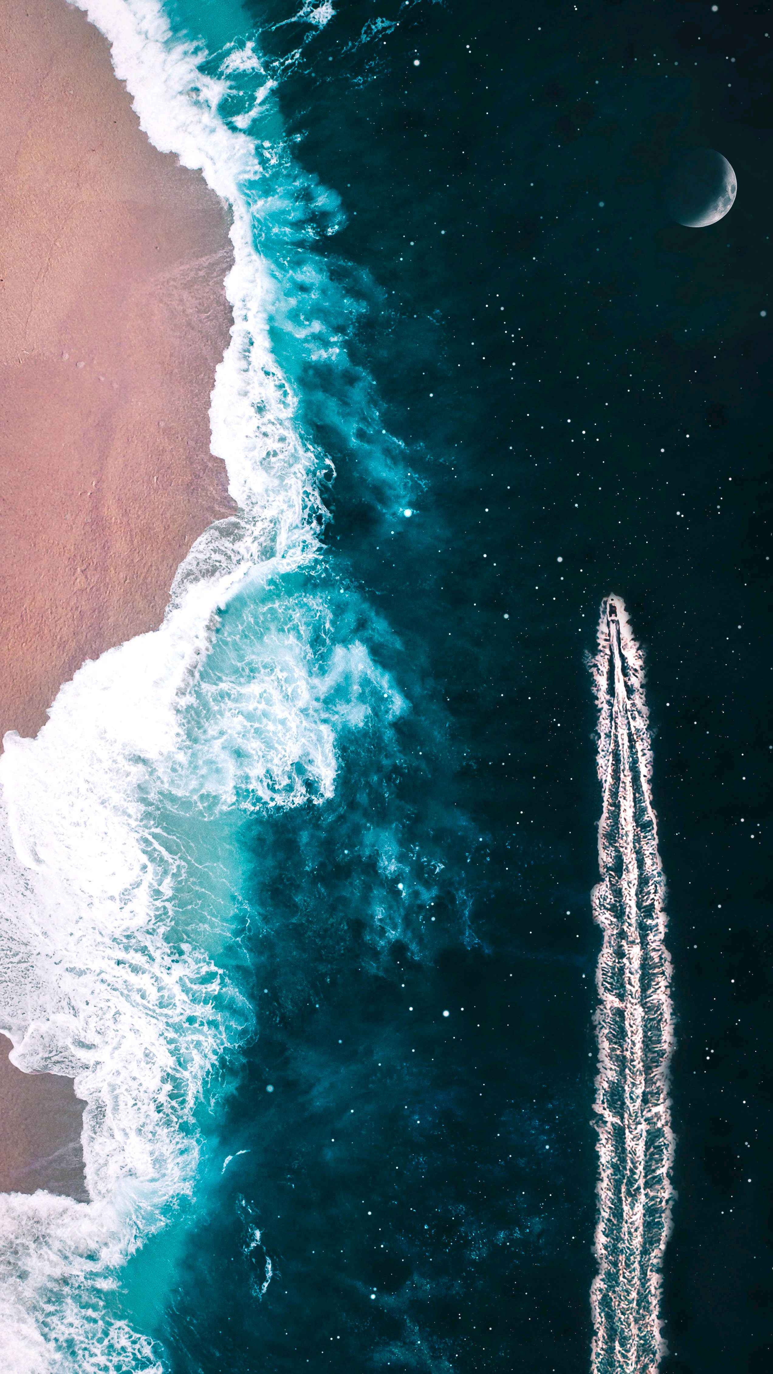 Sailing in sea of stars iPhone Wallpaper