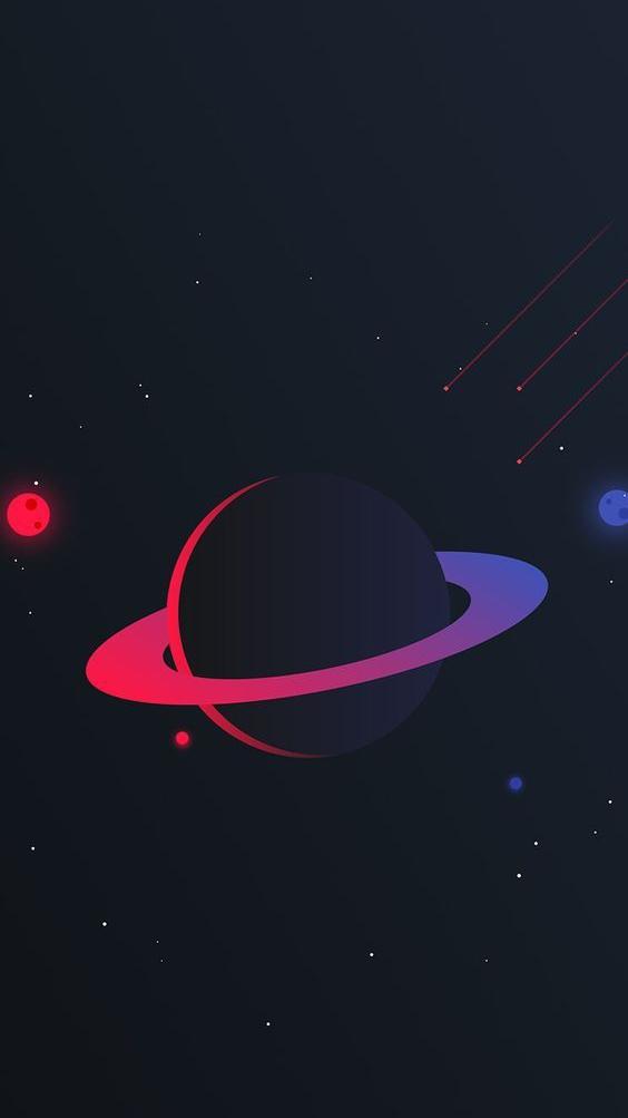 Saturn Planet Simple iPhone Wallpaper