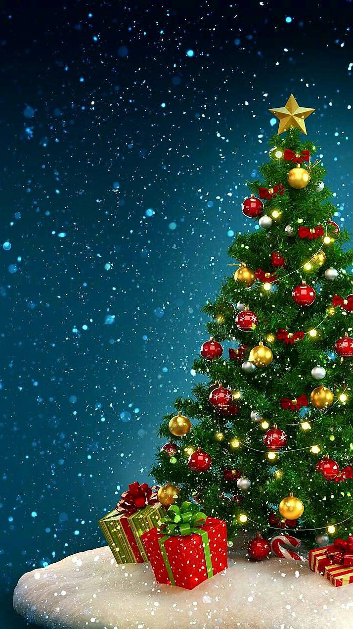 Snow Christmas Tree iPhone Wallpaper