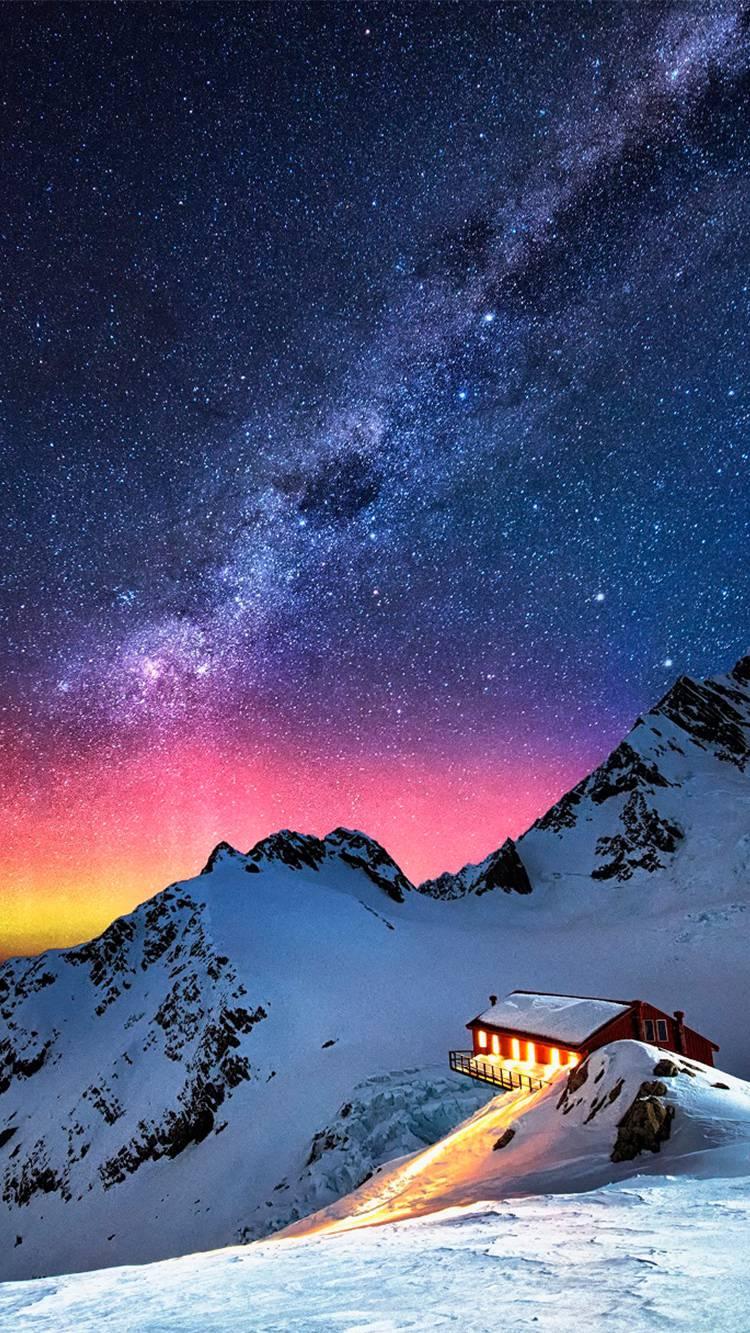Snow Mountain Aurora Milky Way iPhone Wallpaper