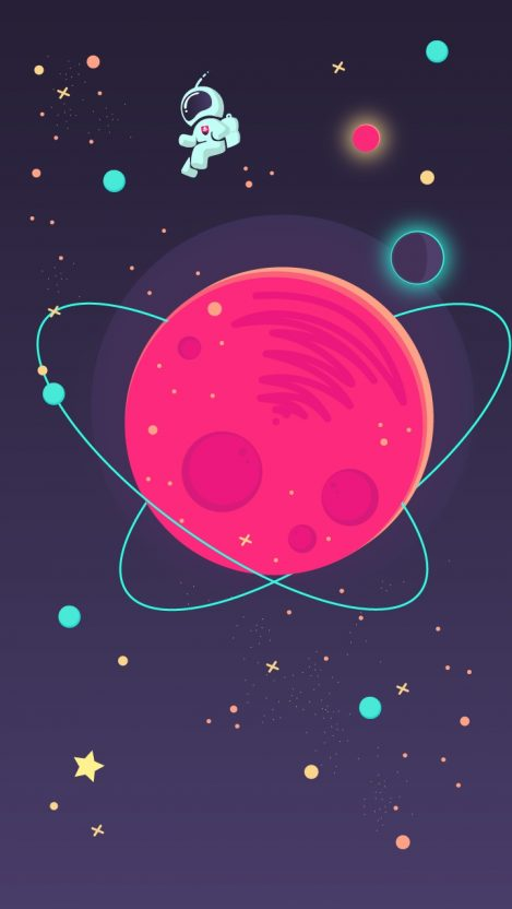 Space Minimal Astronaut Art iPhone Wallpaper