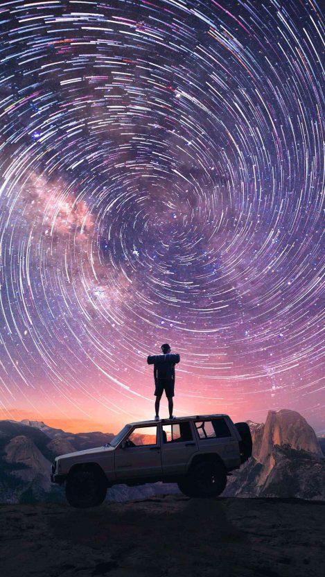 Star trails Adventure Jeep Yosemite Mountains iPhone Wallpaper