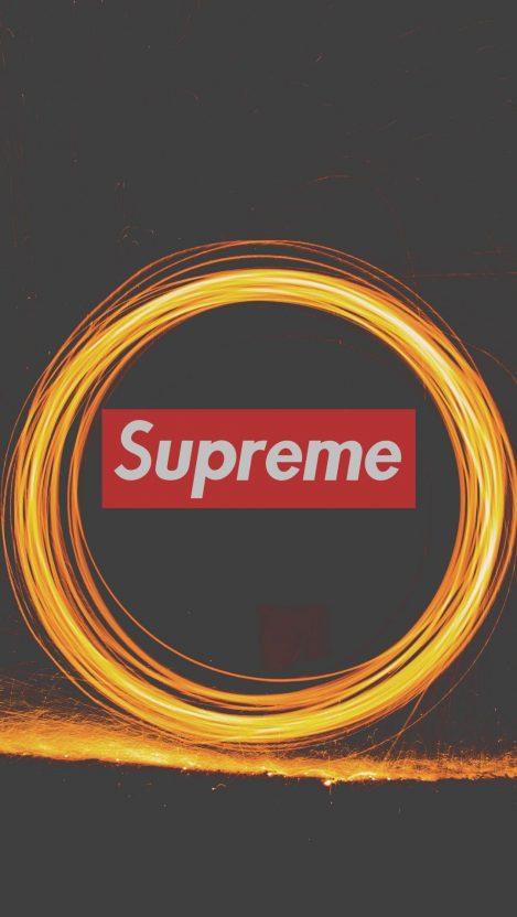 Supreme Logo Fireworks iPhone Wallpaper