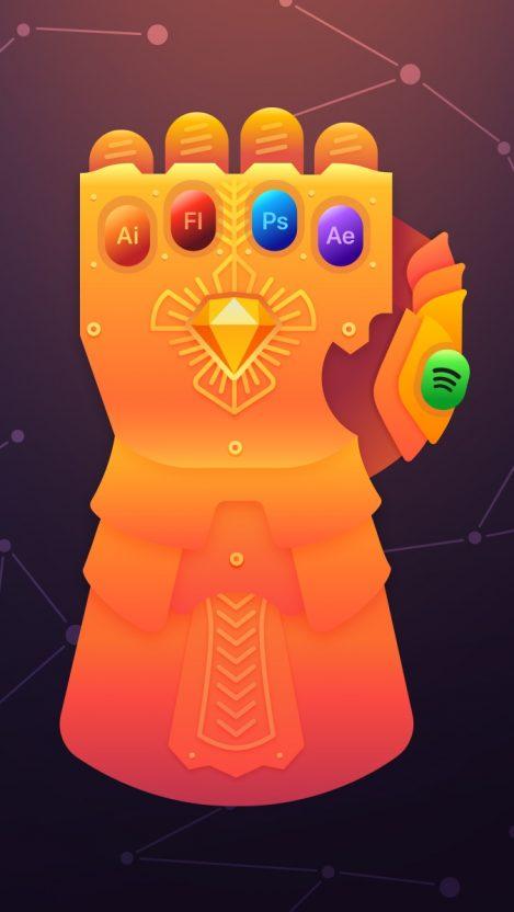 Thanos Glove Infinity Gauntlet iPhone Wallpaper