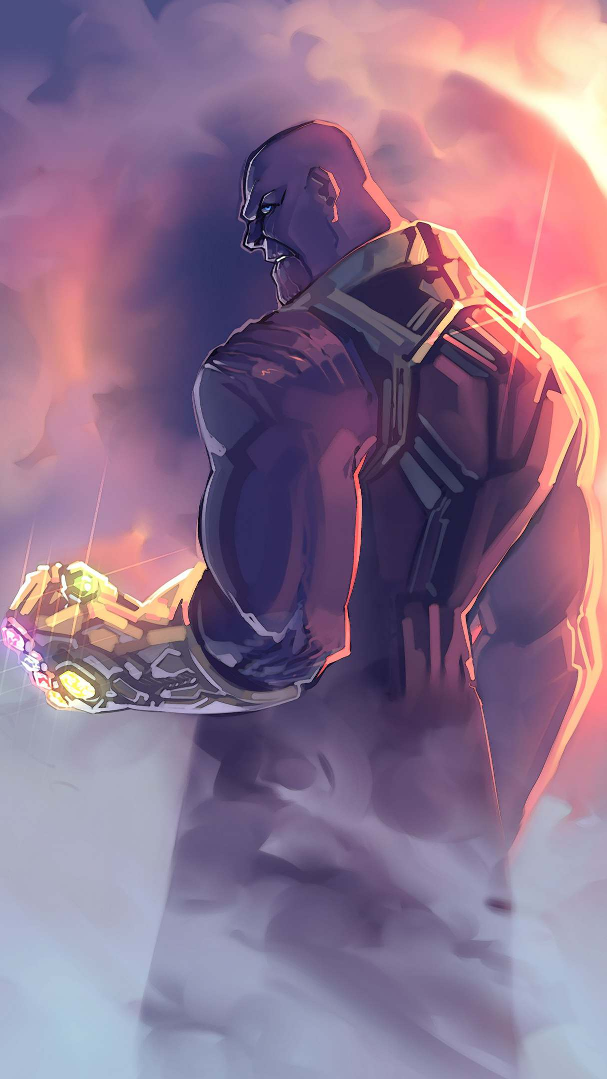 Thanos With Infinity Gauntlet iPhone Wallpaper