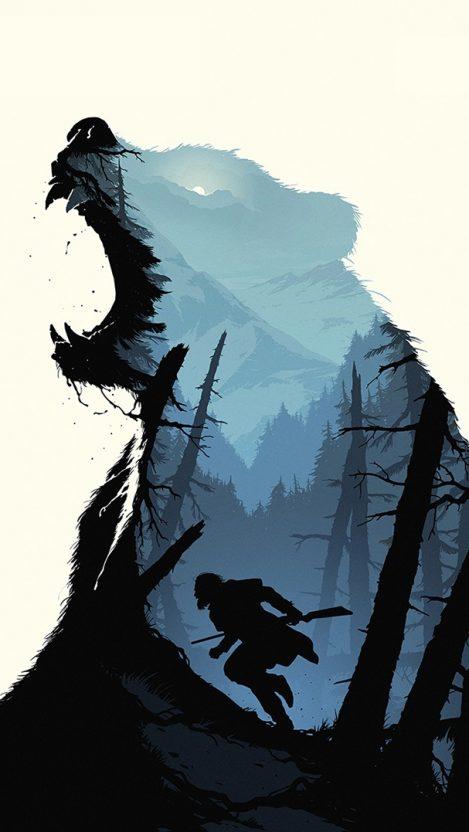 The Revenant Movie Art Bear iPhone Wallpaper