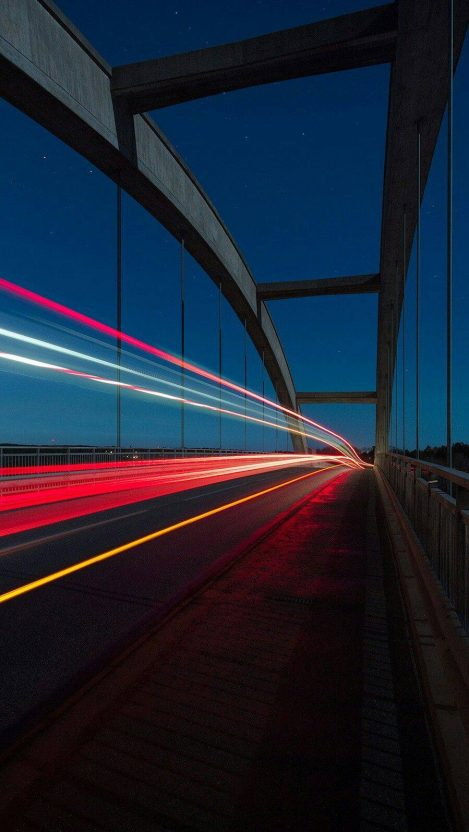 Vehicle Lights Long Exposure Bridge iPhone Wallpaper