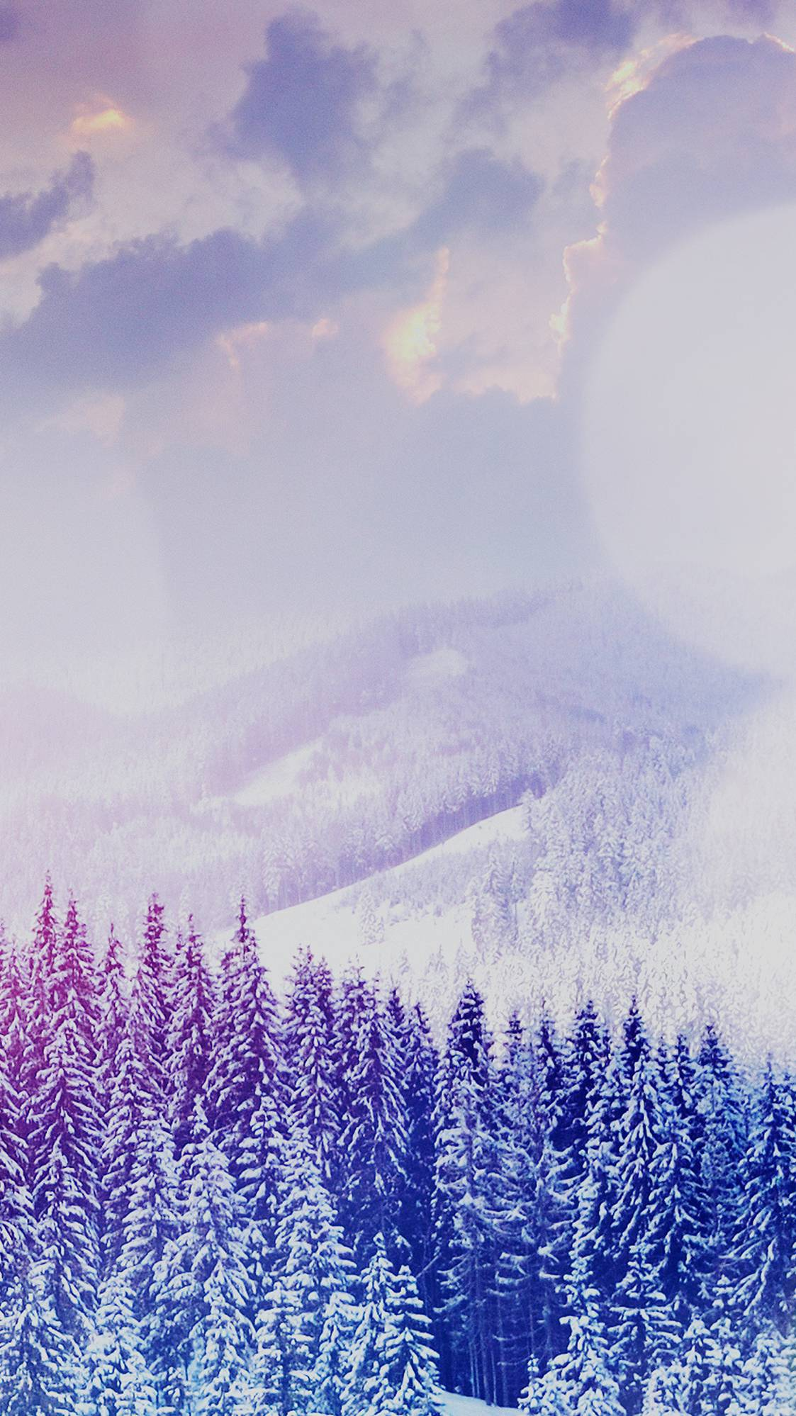 Winter Mountain Snow Forest Clouds iPhone Wallpaper