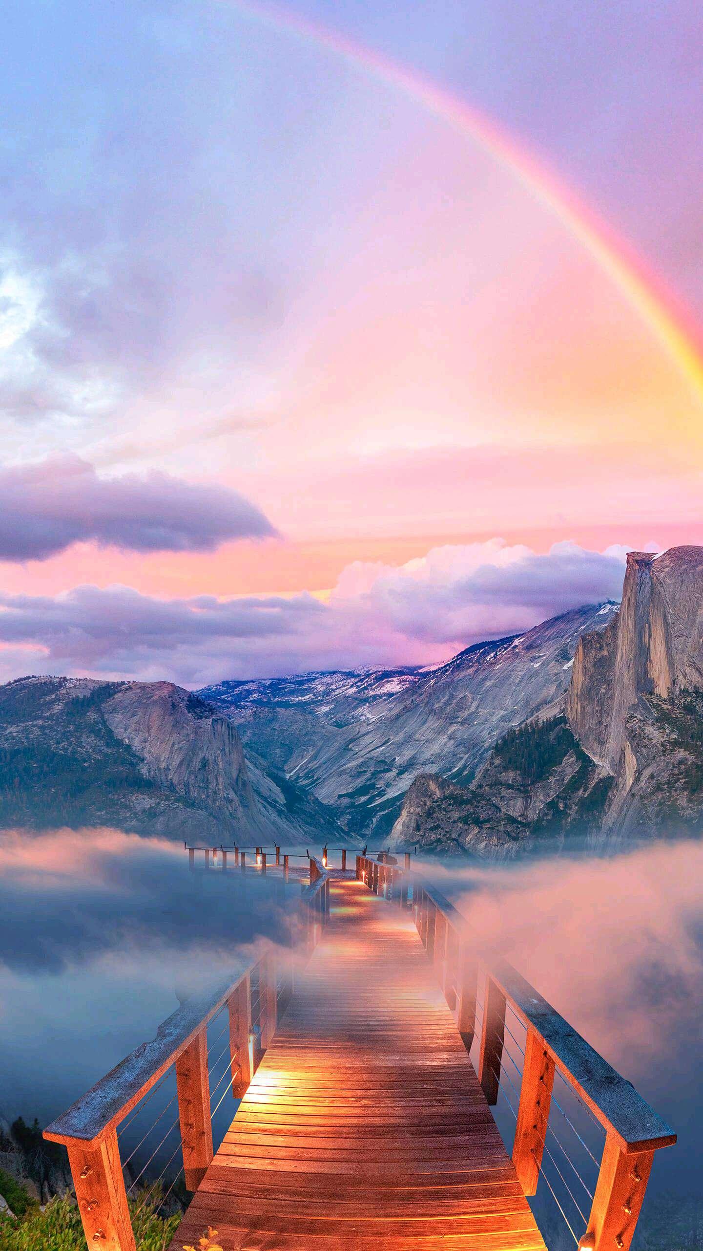 Yosemite Mountains Bridge Way to Nature iPhone Wallpaper